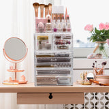 X-Large Clear Makeup Organizer Case - 4 Piece Set (9 Drawers)