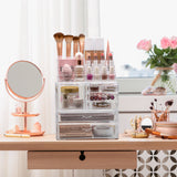 Large Clear Makeup Organizer Case - 3 Piece Set
