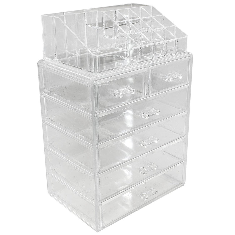Medium Clear Cosmetic Storage Organizer - (4 large / 2 small drawers) - sorbusbeauty