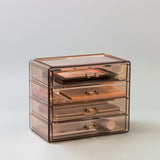 Small Bronze Glow Makeup Organizer Case - 4 Drawers