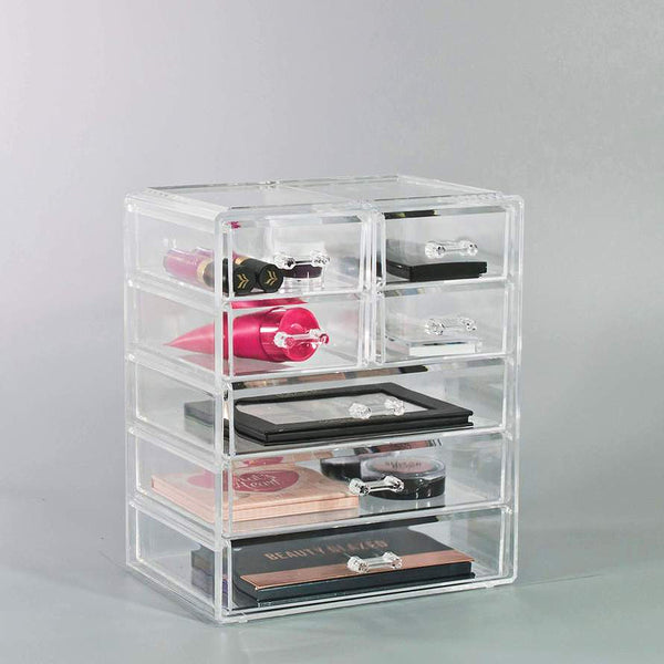 Medium Clear Makeup Organizer - (3 large / 4 small drawers)