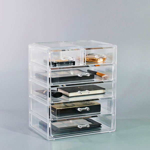 Medium Clear Makeup Organizer - (4 large / 2 small drawers)