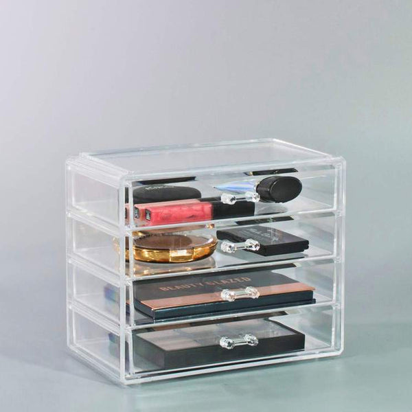 Small Clear Makeup Organizer Case - 4 Drawers
