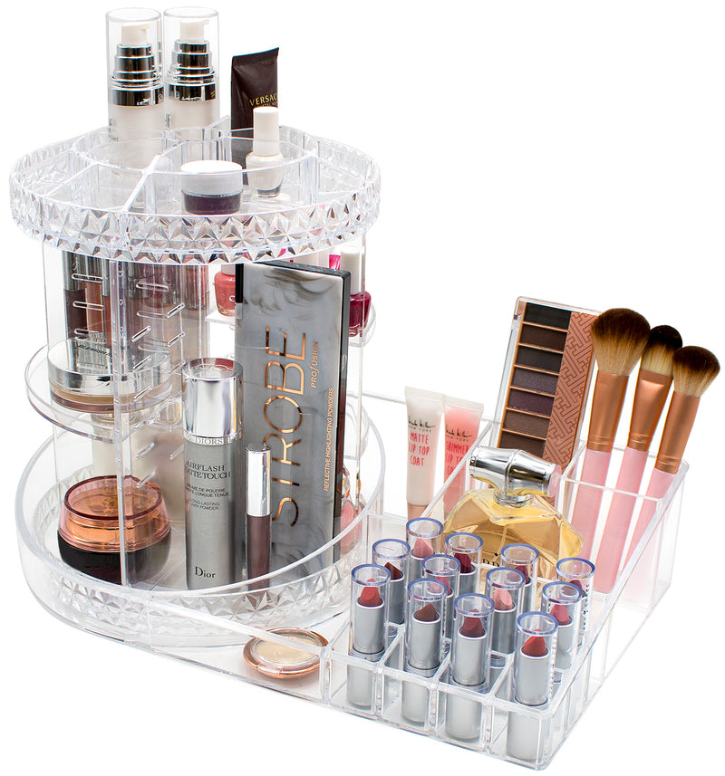 360° Makeup Organizer Carousel Tray Station
