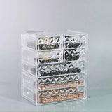Medium Clear Diamond Makeup Organizer - (3 large / 4 small drawers)
