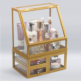Elegant Slanted Lid Display Case with Drawers – Gold Trim