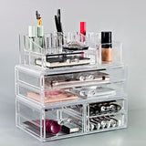 Large Cosmetic Storage Case - 3 Piece Set - Clear