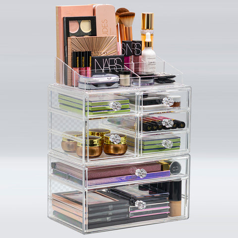 Large Deluxe Clear Makeup Organizer Case - 3 Piece Set