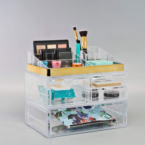 Gold Trim 4 Drawer Cosmetic Storage Case - sorbusbeauty
