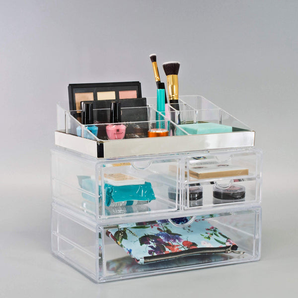 Silver Trim 4 Drawer Set - sorbusbeauty
