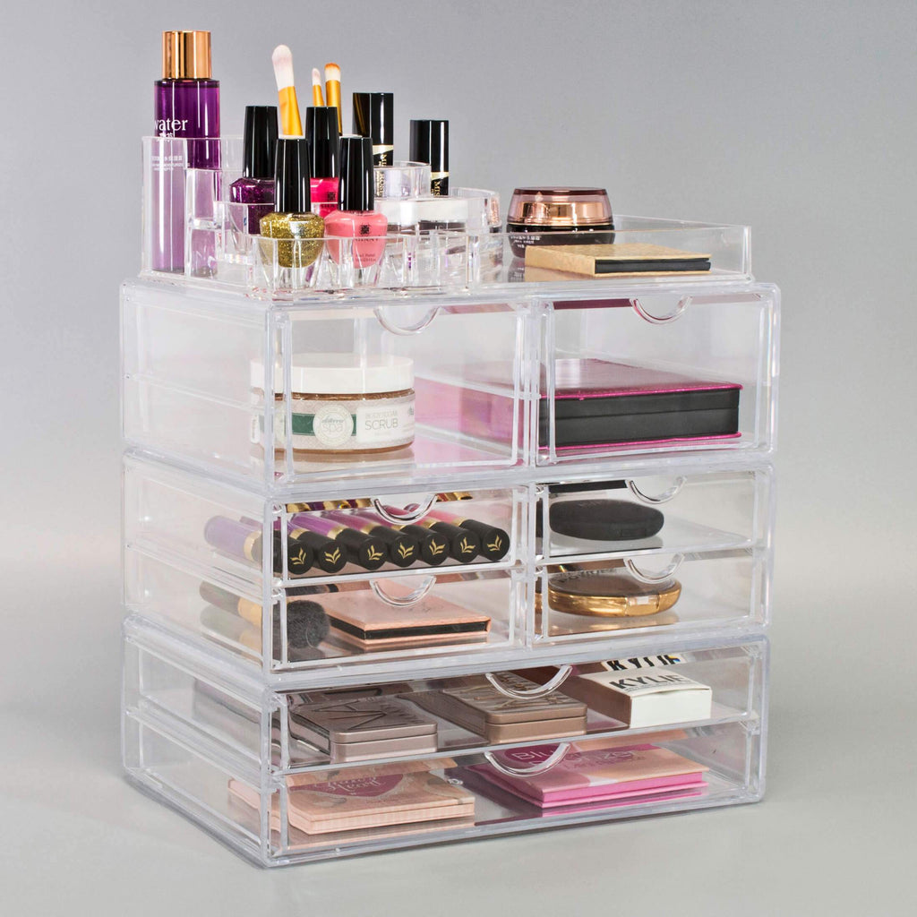 Extra Large Makeup Organizer Case 4 Piece Set Clear