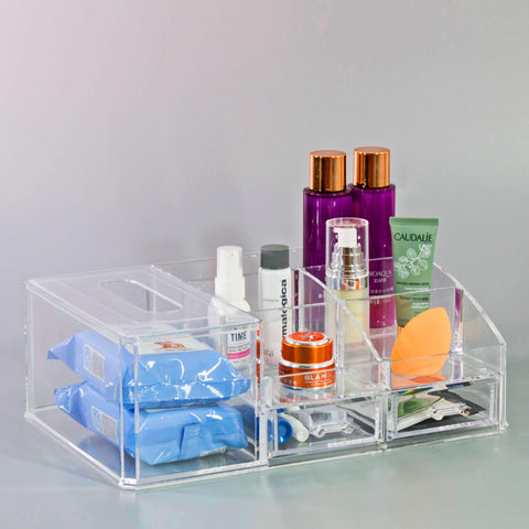 Top Sectional Cosmetic Storage Organizer with Tissue Holder - sorbusbeauty