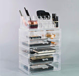 Medium Clear Makeup Organizer Set - (4 large / 2 small drawers/top tray)