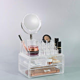 Makeup Organizer with Detachable Mirror - Clear
