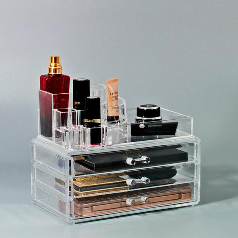 Small Round Top Makeup Organizer Set - Clear