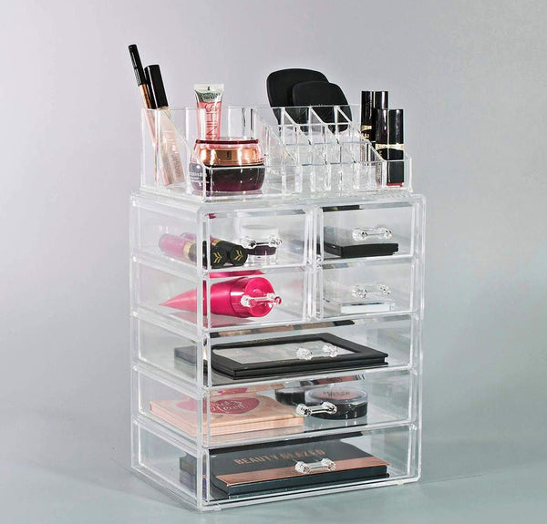 Medium Clear Makeup Organizer Set - (3 large / 4 small drawers/top tray)