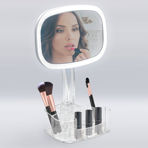 LED Vanity Mirror with Clear Makeup Organizer Tray Base