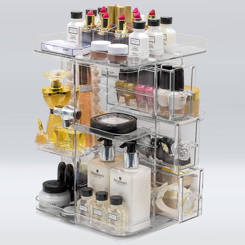 360° Square Makeup Organizer Carousel – Clear