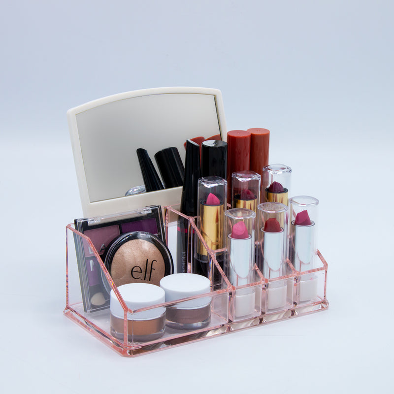 Mini Makeup Organizer with Mirror - Pink - sorbusbeauty