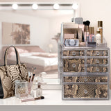 Large Deluxe 4-In-1 Print Makeup Organizer Case - 3 Piece Set