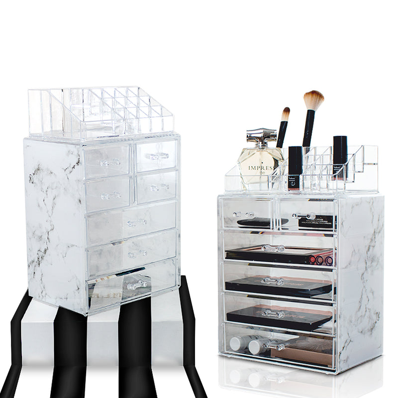 Medium Marble Makeup Organizer Set - (3 large / 4 small drawers/top tray)