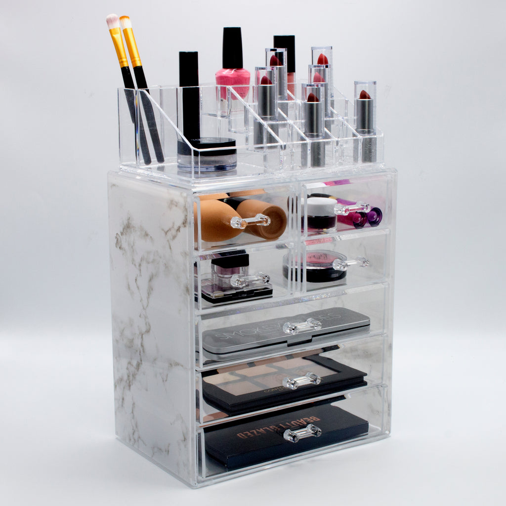 Medium Luxe Marble Style Cosmetic Storage Organizer 3 Large 4 Small Drawers