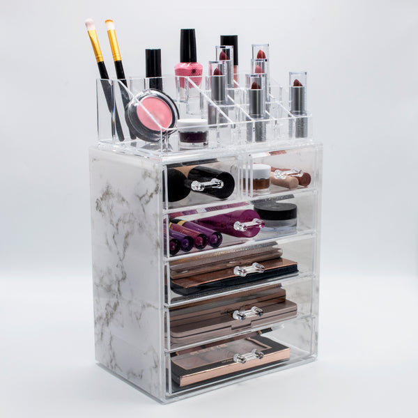 Medium Luxe Marble Style Cosmetic Storage Organizer 4 Large 2 Small Drawers