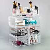Large Cosmetic Storage Case - 4 Piece Set - Clear