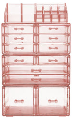X-Large Clear Makeup Organizer Case - 4 Piece Set (12 drawers)