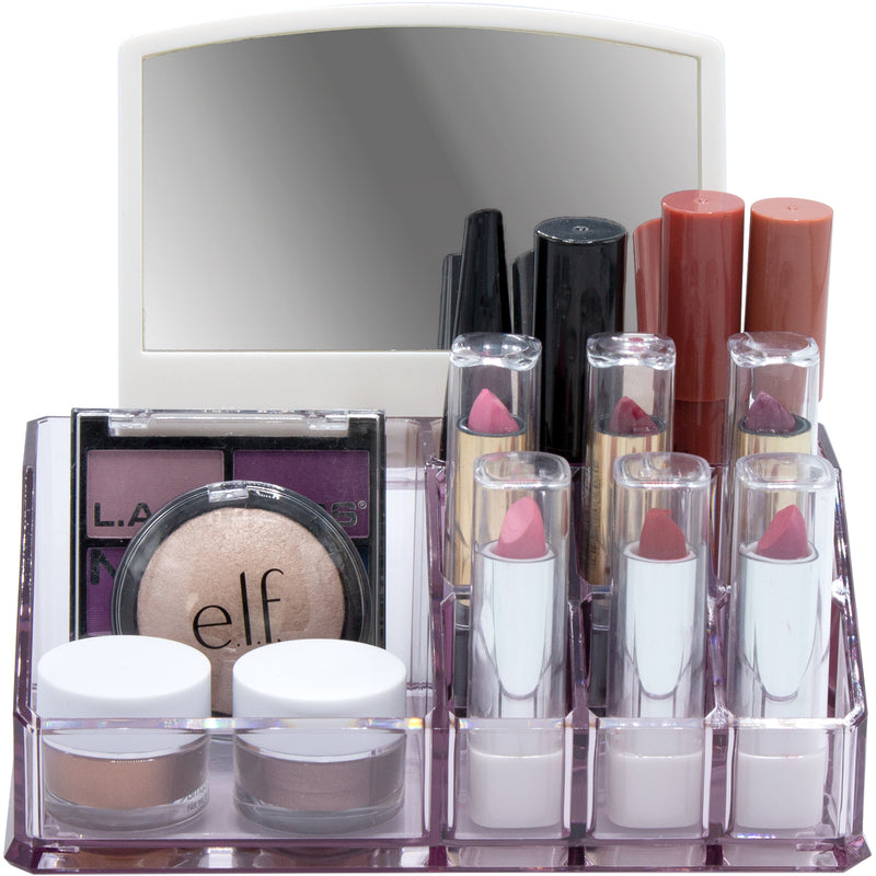Mini Makeup Organizer with Mirror - Purple - sorbusbeauty