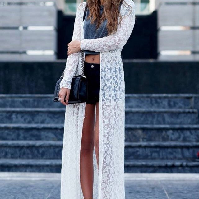 Loose Long Lace Cardigan