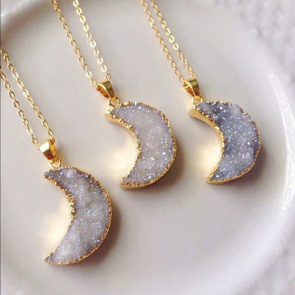 Crystal Moon Pendant Necklace