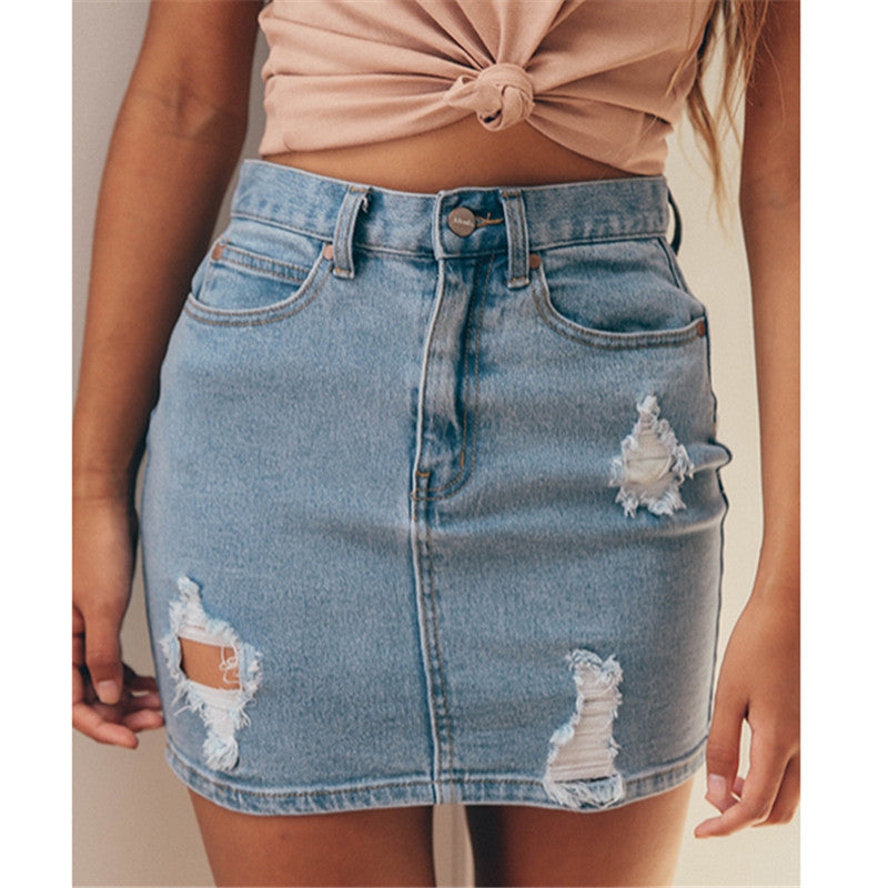 Ripped Jean Skirt
