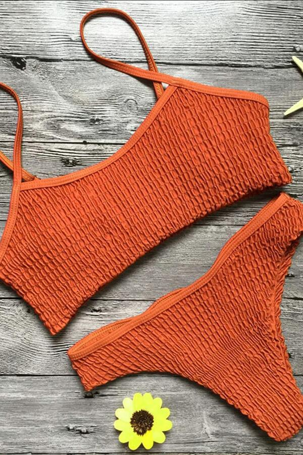 Pleated Bikini Set