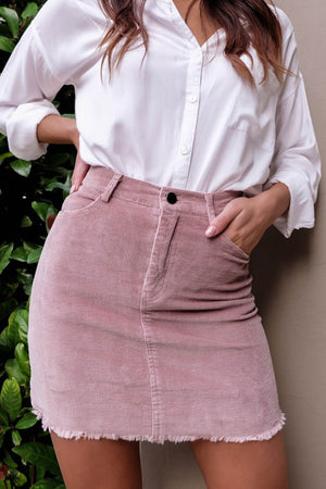 Solid Jean Skirt