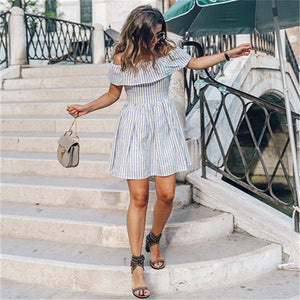 Striped Ruffle Mini Dress