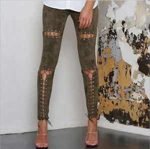 Lace Up Suede Leggings