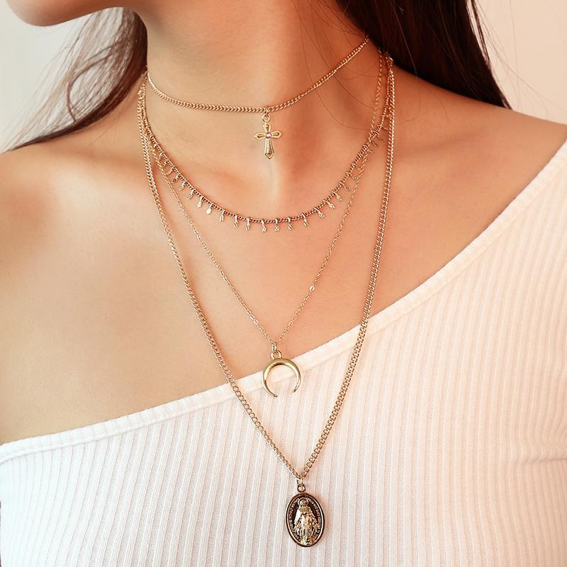 Multi-layered Crescent Moon Necklace