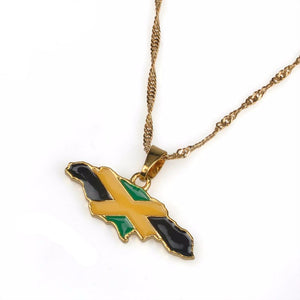 Jamaican Map and National Flag Pendant Necklace