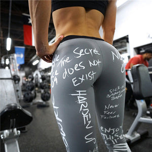 Letter Print Leggings Women Slim Fitness Leggings High Waist Elastic Workout Leggings for Gym Sport Running