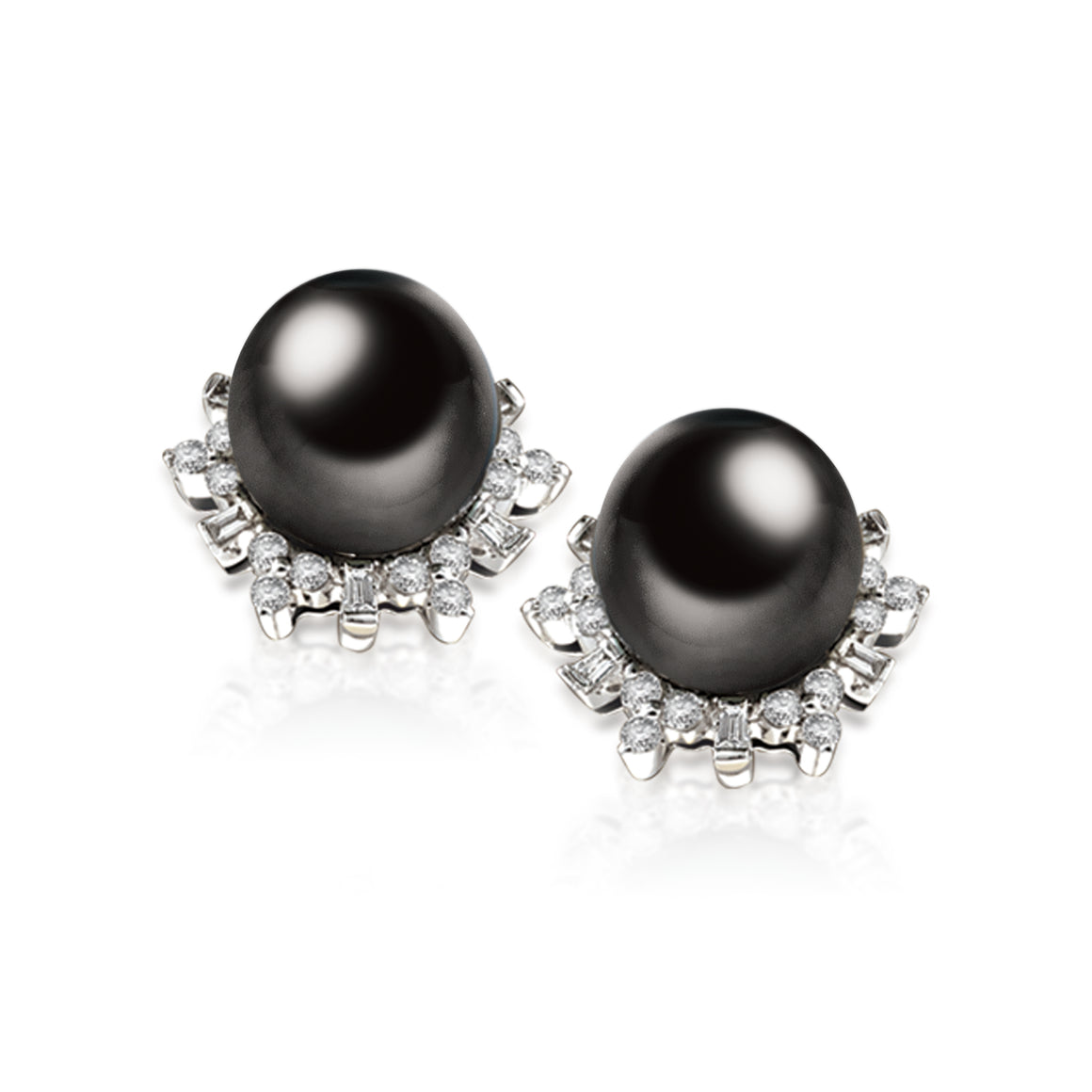"""Natalie, Tahitian Pearl & Diamond Earrings in 18K White Gold"""