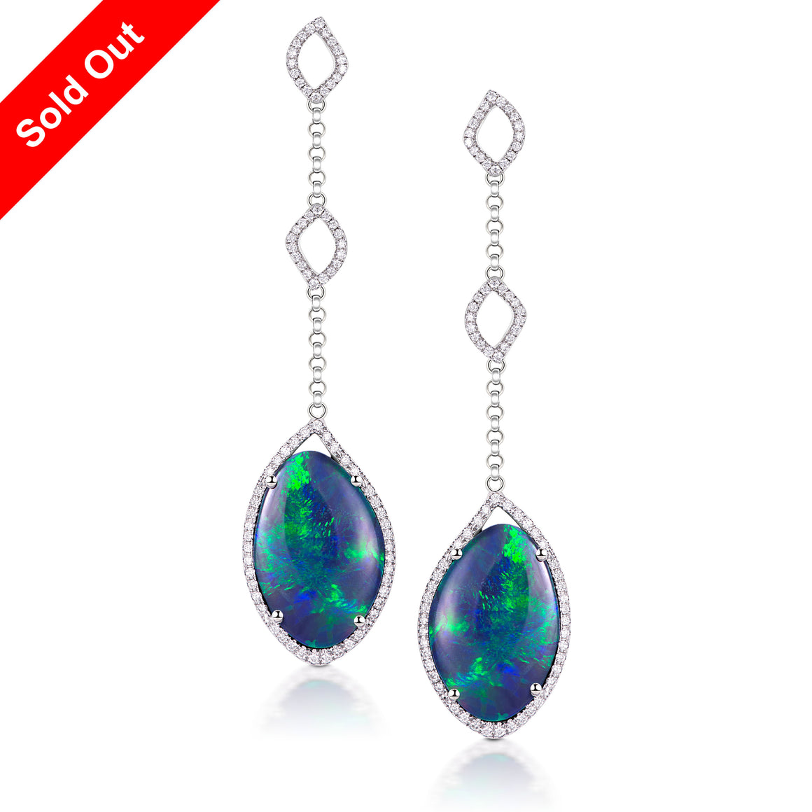 18K White Gold & Diamond Australian Black Opal Earrings