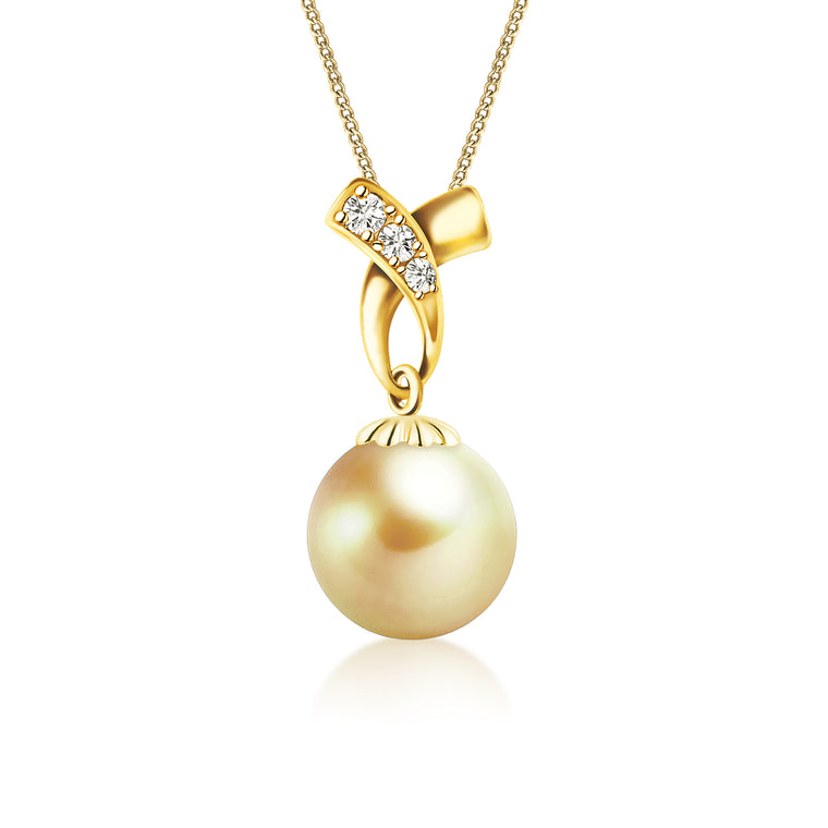 """Emily, South Sea Gold Pearl & Diamond Pendant in 18K Yellow Gold"""