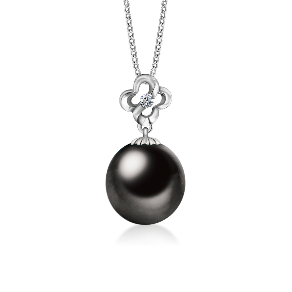 """Selena, Tahitian Pearl & Diamond Pendant in 18K White Gold"""