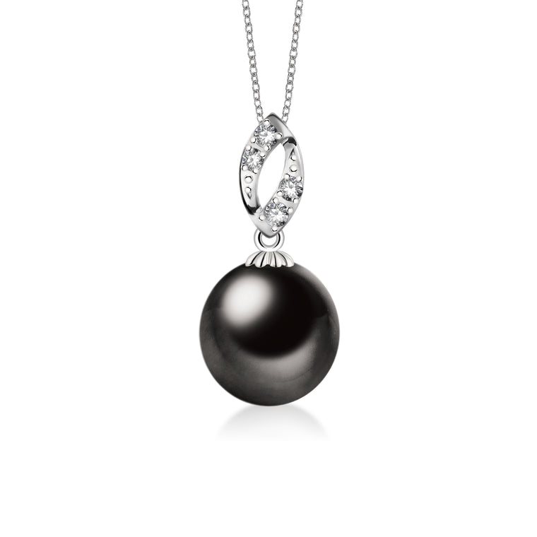 """Liselle, Tahitian Pearl & Diamond Pendant in 18K White Gold"""