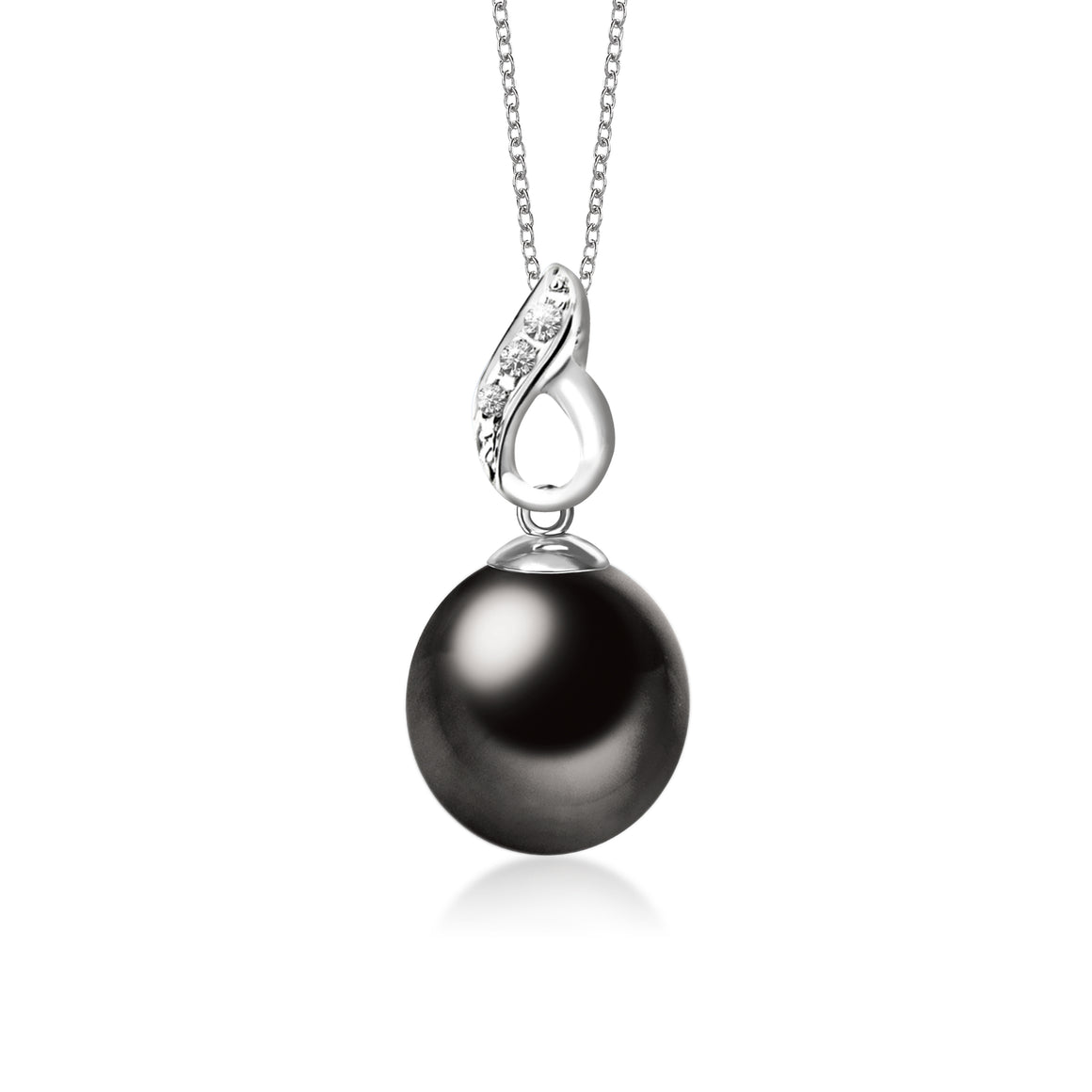 """Eternity, Tahitian Pearl & Diamond Pendant in 18K White Gold"""