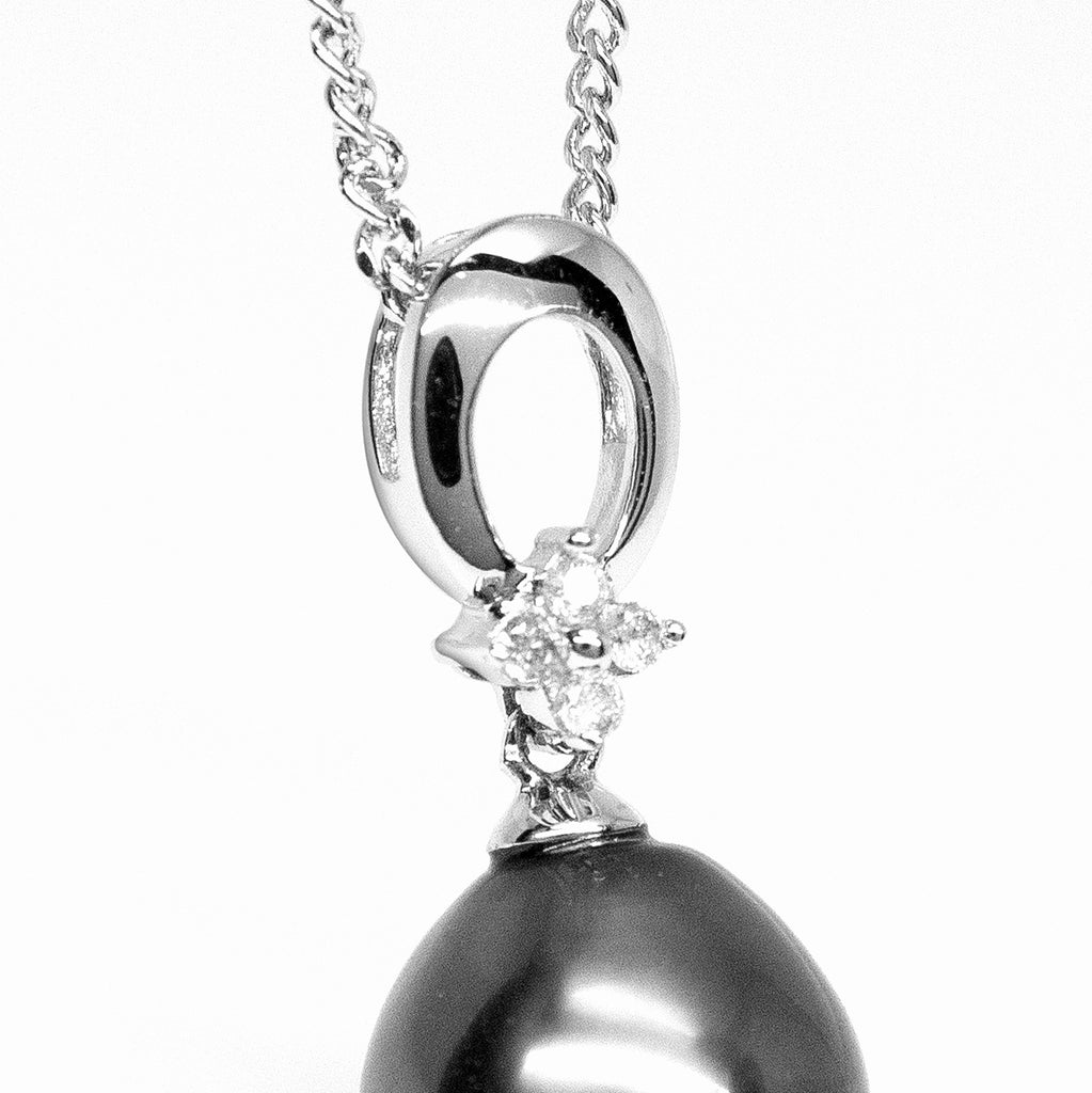 """Starlight, Tahitian Pearl & Diamond Pendant in 18K White Gold"""