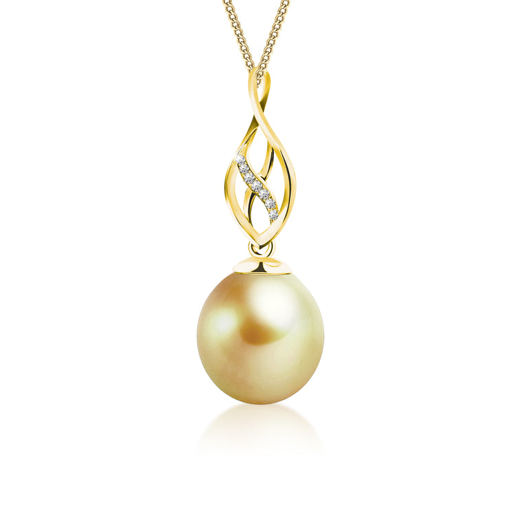 """Zara, South Sea Gold Pearl & Diamond Pendant in 18K Yellow Gold"""
