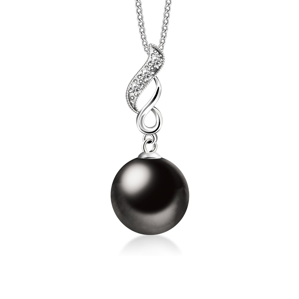 """Doris, Tahitian Pearl & Diamond Pendant in 18K White Gold"""