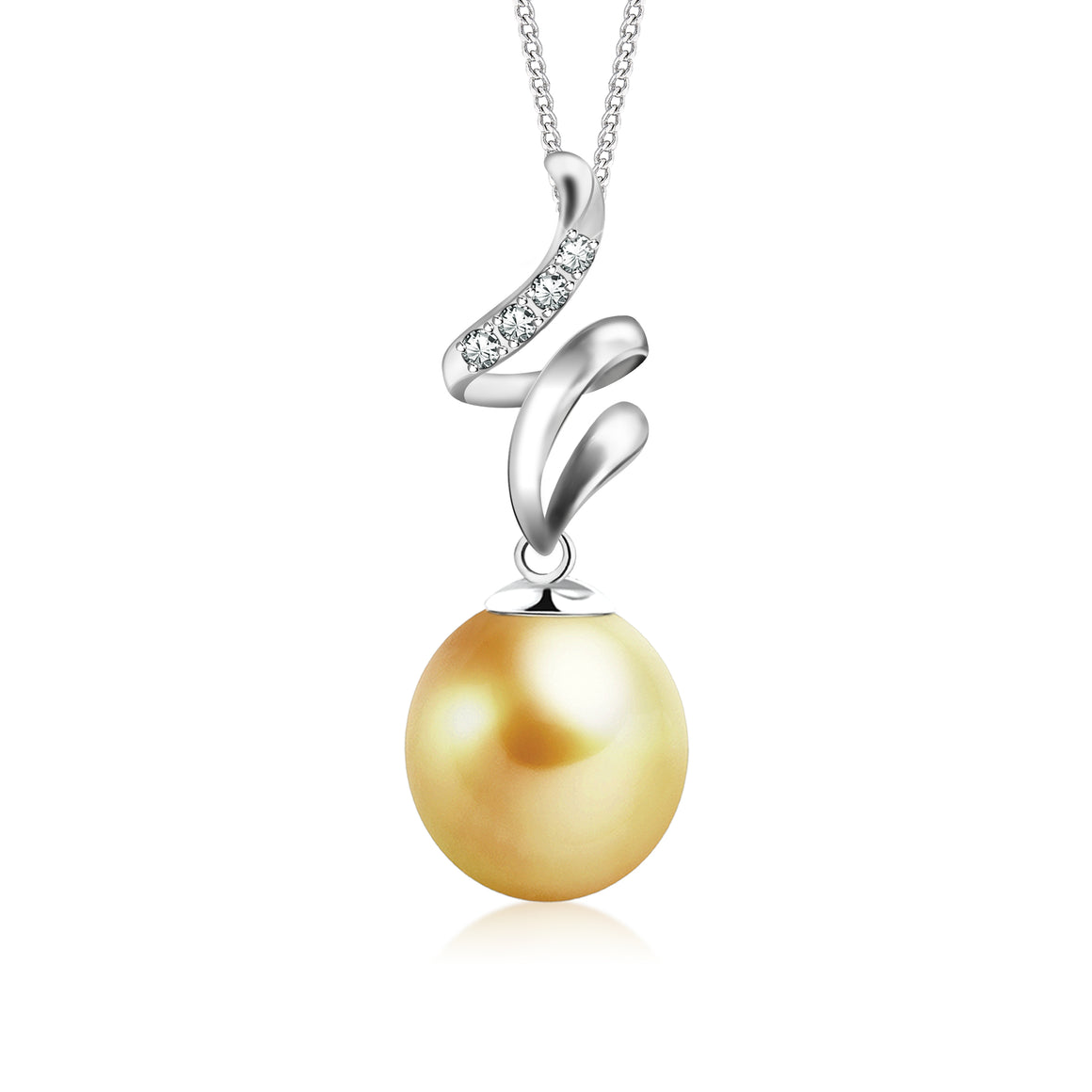 """Faye, South Sea Gold Pearl & Diamond Pendant in 18K White Gold"""